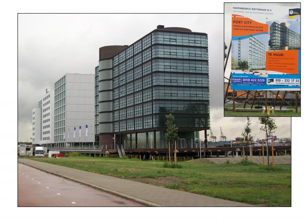 Photo 1 : Les premières réalisations de l'opération Stadshavens : des immeubles de bureaux dont l'autorité portuaire assure la promotion sur les quais de Waalhaven, au sud de Rotterdam. Traduction du slogan de l'annonce : « Ville Port, un lieu unique d'implantation de bureaux pour le secteur maritime » (M.Verdol, 2011).