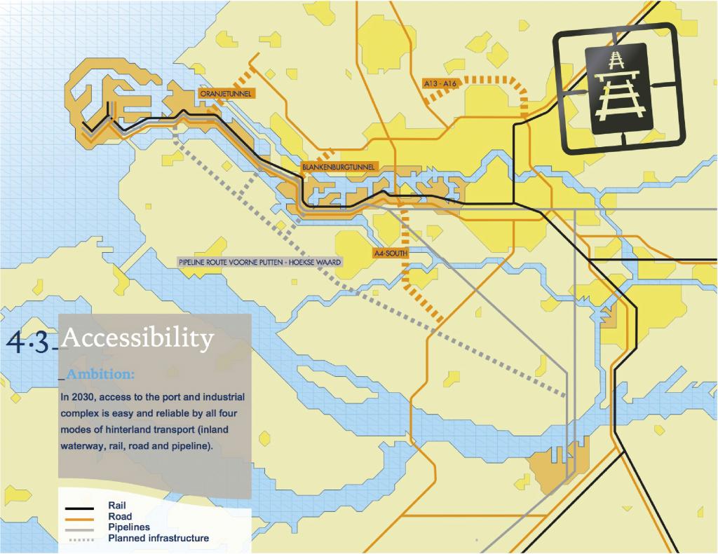 Carte 1 : Les infrastructures terrestres (Port de Rotterdam, Port Vision 2030, page 50, 2011).