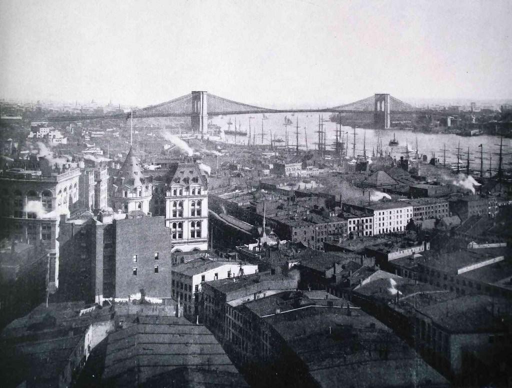 Le pont et le quartier industriel de Brooklyn dans les années 1890 (anonyme) (http://thethingsienjoy.blogspot.fr/2012/06/ports-in-late-1890s.html)