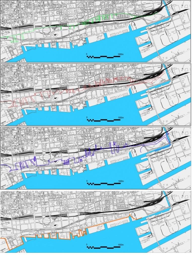 Evolution des tracés successifs du port de Toronto entre 1882 et 1930 (de haut en bas 1882 tracé de couleur verte, 1886 en rouge, 1910 en violet, 1930 en orange,), (cartes issues du site de Waterfront Toronto consultées en septembre 2012, retirées depuis)