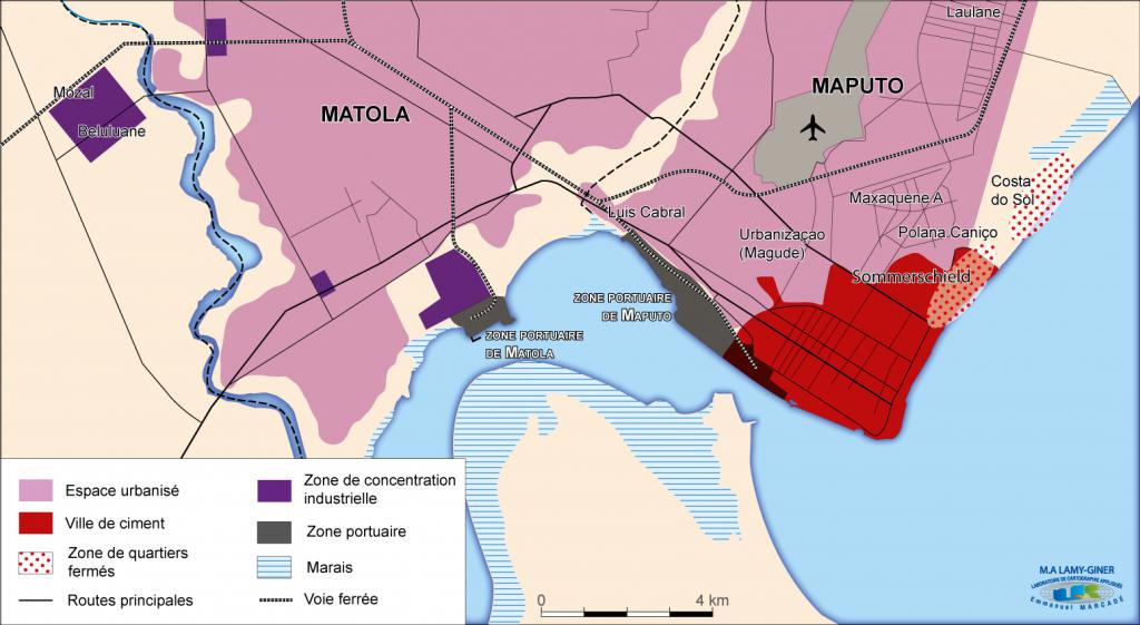 1. Les villes portuaires de Maputo et Matola (conception M-A Lamy-Giner, 2014)