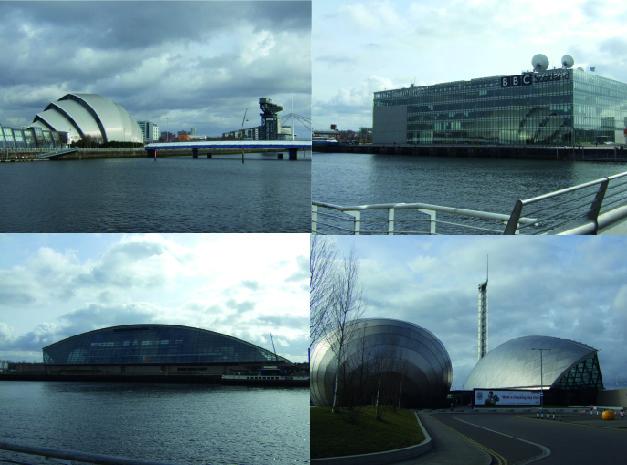 Pacific Quay (Jeannier, 2010) – Localisation Google maps. En haut à gauche: The Armadillo et Finnieston Crane, sur l'ancien site de Queen's dock. Ils sont reliés à Pacific Quay, sur l'autre rive de la Clyde par un pont uniquement piétonnier, Bell's Bridge. En haut à droite et en bas: Pacific Quay, sur l'ancien site de Prince's dock, où s'est déroulé le Garden Festival de 1988. Le bâtiment de BBC Scotland a été inauguré en 2007, le Glasgow Science Centre et le cinéma Imax (photos du bas) en 2001. En arrière plan, la Glasgow Tower.