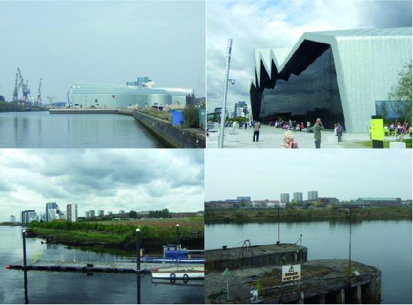 Riverside Museum (Scotland's Museum of Transports), à Glasgow Harbour. Le musée a ouvert ses portes en juin 2011 (Jeannier, 2010 et 2011) – Localisation Google map. En haut à gauche: en construction, vue depuis Pacific Quay. En haut à droite: quelques semaines après l'ouverture, en juillet 2011. En bas: sites qui restent à aménager à côté et en face du Riverside Museum.