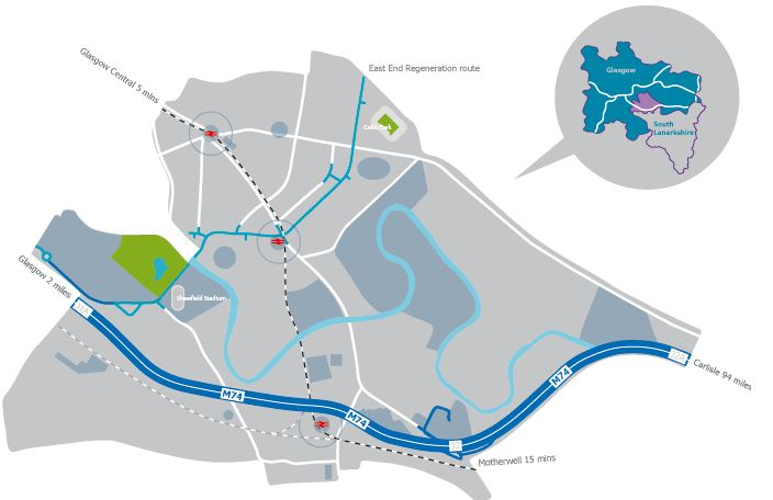 Territoire de l'agence de régénération urbaine Clyde Gateway. Source : carte interactive : http://www.clydegateway.com/pages/clyde_gateway_map.php.