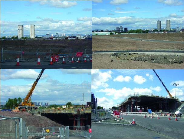 Construction de la M74 et de l'Est End Regeneration Route (Jeannier, 2010) – Vue vers le nord, depuis Polmadie – Localisation Google maps. En haut: la M74 traverse le site de l'ancienne usine sidérurgique Dixon's Blazes, à l'abandon depuis les années 1960, situé entre le quartier des Gorbals et au sud, Govanhill. En arrière plan, les tours d'habitation du quartier des Gorbals. En bas à gauche: on aperçoit, en arrière-plan, les immeubles de Red Road. En bas à droite: la M74 passe au-dessus de Polmadie Road, qui constitue l'un des segments de l'East End Regeneration Route.