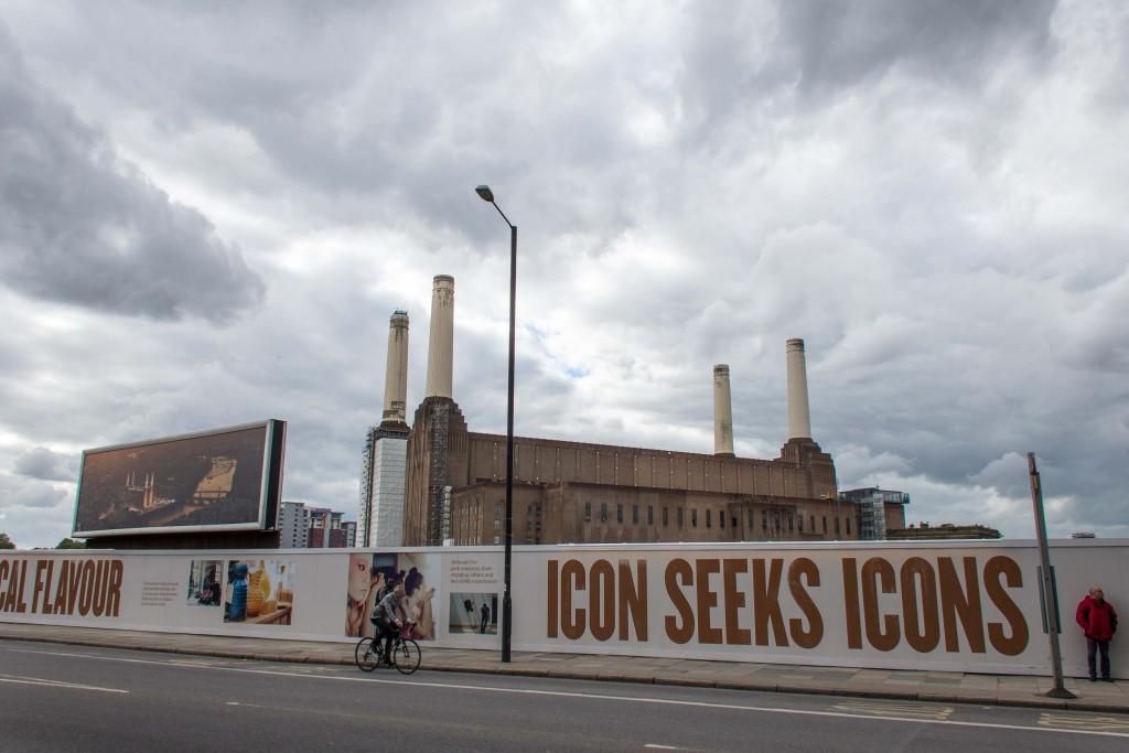 L'ancienne centrale thermique de Battersea et slogan de la promotion immobilière, Vauxhall Nine Elms (Appert, 2014)