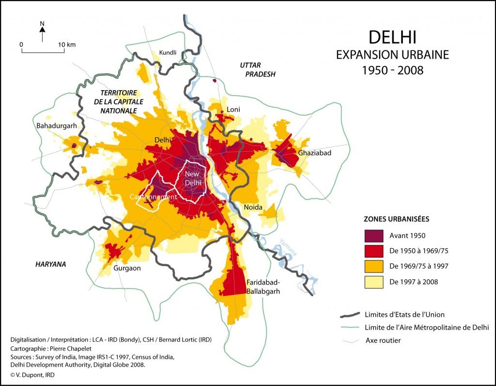 Illustration 1. Expansion urbaine de Delhi de 1950 à 2008