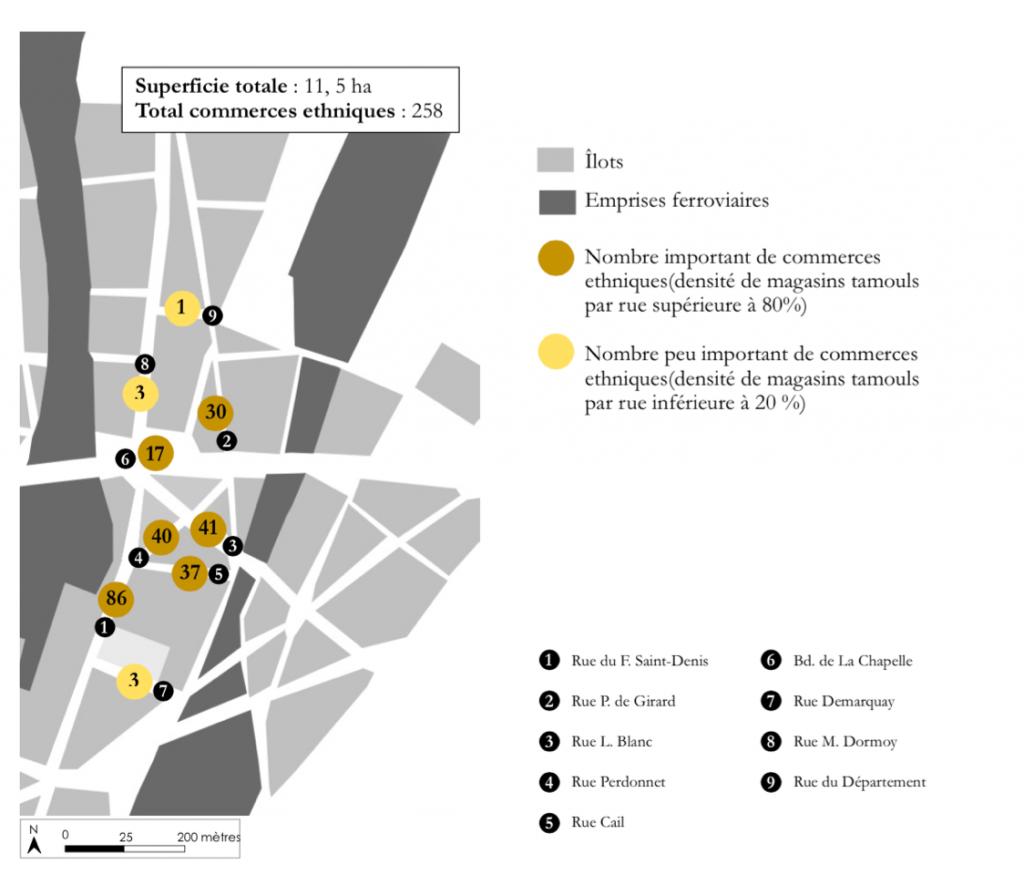 1. Concentration commerciale tamoule à La Chapelle (Lo Duca, 2014)