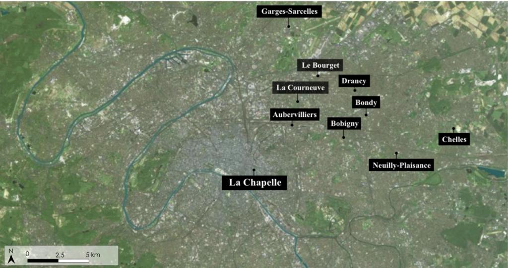 3. Lieux d'investigation en Île-de-France (Géoportail, Lo Duca, 2014)