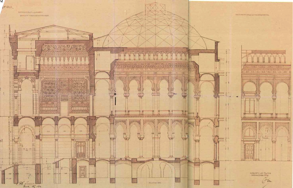 2. Vijecnica, coupe sur l'escalier d'honneur et le hall central hexagonal (source Sarajevo city hall revisited, Ville de Sarajevo, projet: Studio -Urbing, 2011)