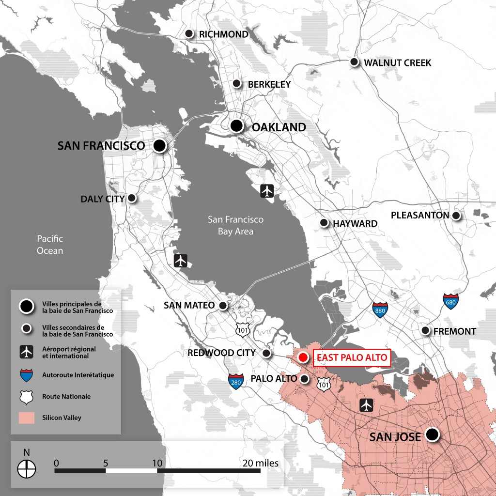 2. Carte de la Silicon Valley située au sud de la Baie de San Francisco. J'ai choisi ici de centrer l'attention sur l'acception classique de la Silicon Valley, qui n'inclut pas forcément la ville de San Francisco (Maaoui, 2015).