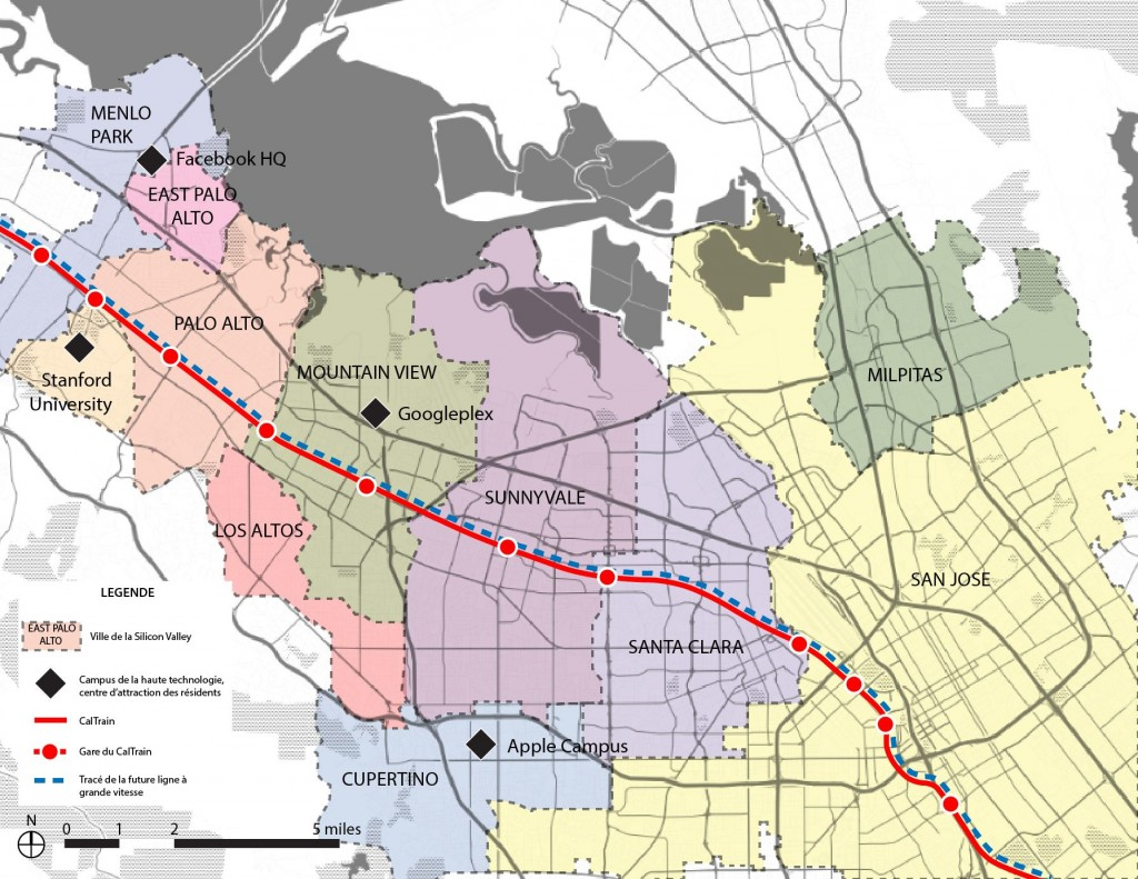 3. Carte représentant l'ensemble régional de la Silicon Valley, également appelée la South Bay (Maaoui, 2015).