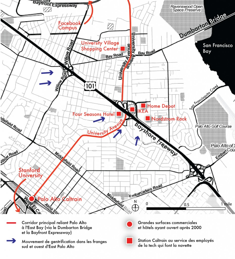 4. Carte d'East Palo Alto, séparée par Palo Alto par la Bayshore Freeway et de Menlo Park par Willow Road. University Avenue est son corridor central, connectant la station Caltrain de Palo Alto, via East Palo Alto, en direction du campus de Facebook (Maaoui, 2015).