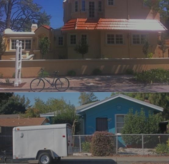 7. Photographies de façades illustrant le type de maisons individuelles construites à East Palo Alto et Palo Alto (Maaoui, 2013).