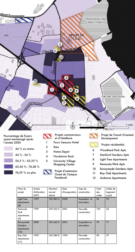 9. Augmentation des nouveaux projets de développement résidentiel LIHTC au cours des quinze dernières années, principalement dans les franges sud de la ville (Maaoui, 2014).