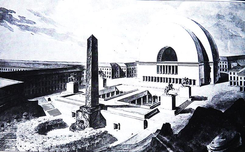 Figure 2 : Vue du Théâtre du peuple et des bains publics, projet de F. Verly, an II. (Source : Trenard et al, 1991 : 274.)