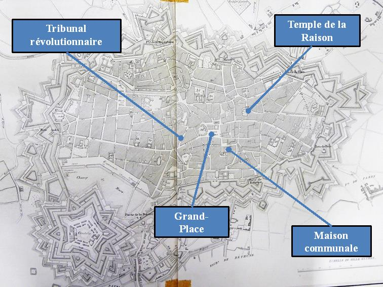 Figure 3 : Plan de Lille en 1796 (Source : Brun-Lavienne, 1830)