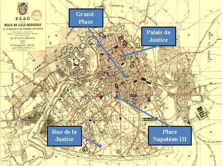 Figure 4 : Plan de Lille en 1877 (Source : Plan de la ville de Lille agrandie de la banlieue et des communes limitrophes)
