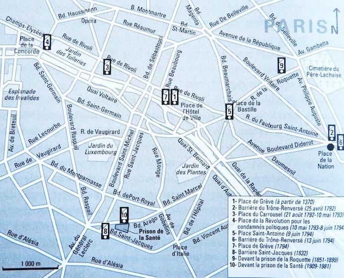 Figure 6 : Lieux de l'exécution à Paris (Source : Taïeb, 2011 : 120)