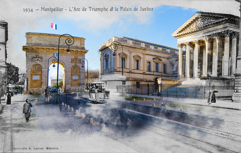 Le Palais de Justice de Montpellier se situe dans l'hypercentre, à côté de l'Arc de triomphe menant à la place royale du Peyrou. La prison était à l'arrière du palais de justice. (Source : travail photographique de P. Suau à partir d'une phototypie de B. Lacour http://www.patricksuau.book.fr/files/gal/111371/v2qtgza2vq.jpg)