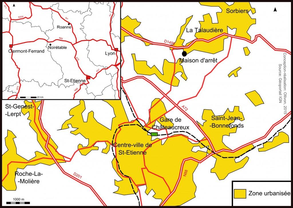 Figure 1- Carte de situation de la maison d'arrêt de la Talaudière où a lieu toute pose de bracelet électronique dans le département de la Loire (Ollivon, 2015)