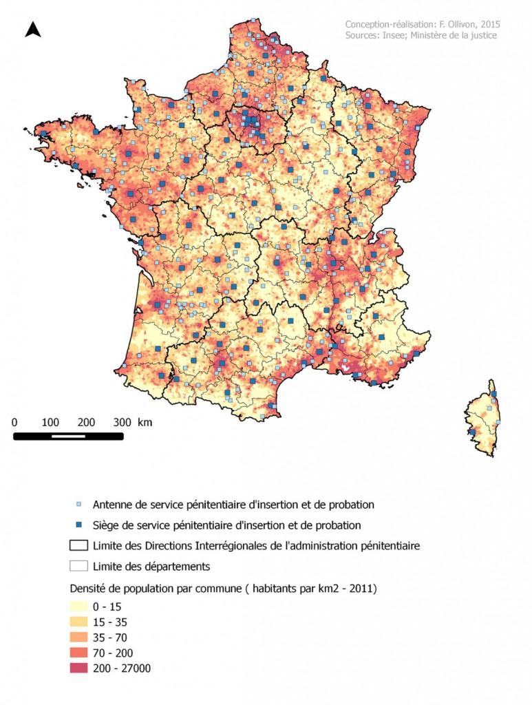 Figure 2- Les grandes aires urbaines polarisent les services de l'administration judiciaire en France, l'exemple des Services Pénitentiaires d'Insertion et de Probation (Ollivon, 2015)