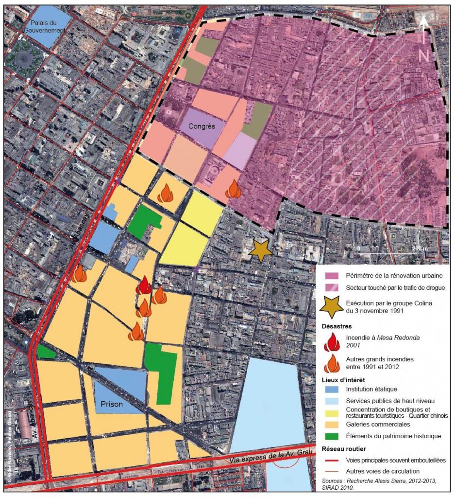 Figure 9. Barrios Altos, un processus de rénovation lent, entre activités commerciales et trafics, entre incendies et mémoire d'exécutions sommaires.
