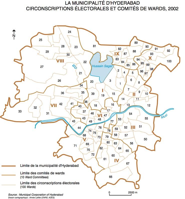 Carte 1: découpage administratif d'Hyderabad (Laffite, 2015)