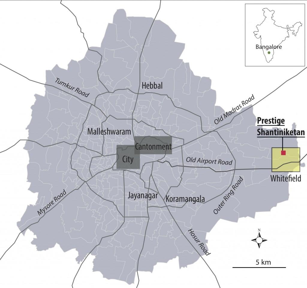 Le projet Prestige Shantiniketan dans l'agglomération de Bangalore (H. Rouanet, 2015)