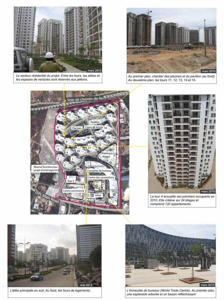 Le projet Prestige Shantiniketan, un grand projet autonome et multifonctionnel. Sources: Image satellite: Google Map 2014. Photographies: H. Rouanet, 2010 et 2012.