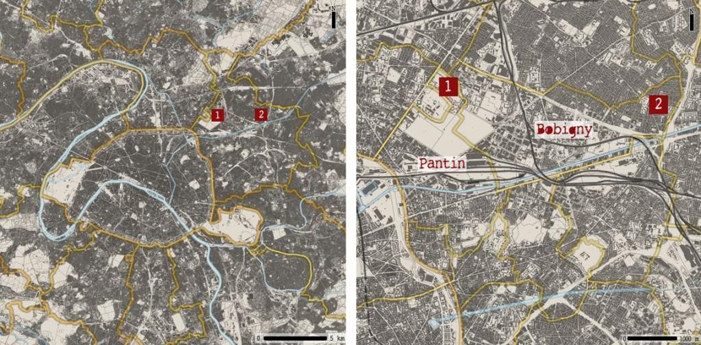 1. Localisation des deux quartiers (Silvana Ghali sur fond plan cadastre Géoportail, 2015)