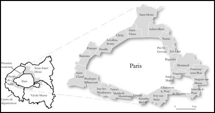 1. Les communes de la première couronne de banlieue parisienne (Albecker, 2014)