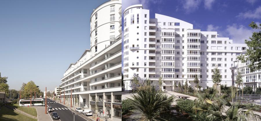 2. Remodelage de tours de logements dans le quartier de La Duchère à Lyon (gauche) et la Barre République à Lorient (droite) (source : Castro Denissof Associés)
