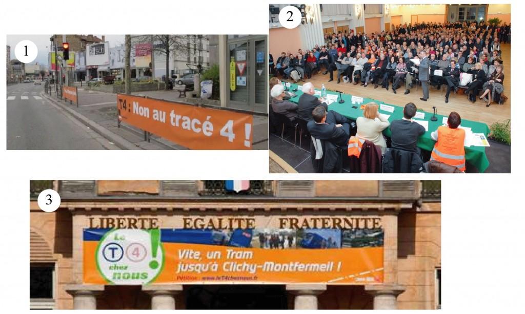 1.Des banderoles contre le passage du tramway à Livry-Gargan (Zappi S., http://banlieue.blog.lemonde.fr/, 2013) 2. Des réunions contre le débranchement du T4 à Livry-Gargan (https://www.pascalpopelin.fr/galerie/2012, 2012) 3. Un calicot pour le débranchement à Clichy (Mairie de Clichy-sous-Bois) 2. Pour ou contre le débranchement du tramway 4 vers Clichy-Montfermeil ? (Serisier, 2015)