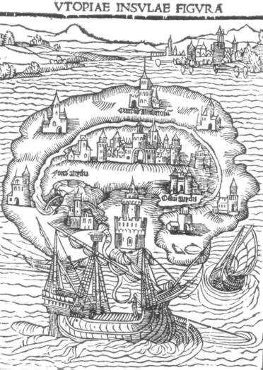 1. Illustration de la première édition de L'utopie. (Wikimedia Commons)