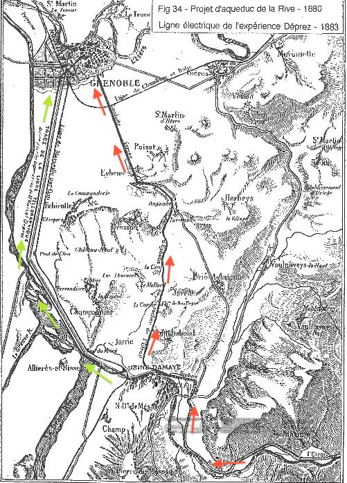 6.Plan du projet Bergès-Caron, tracé représenté par les flèches rouges et du projet Déprez, tracé représenté par les flèches vertes (Brochet, 2015 d'après Ducluzaux, 1998 : 55)