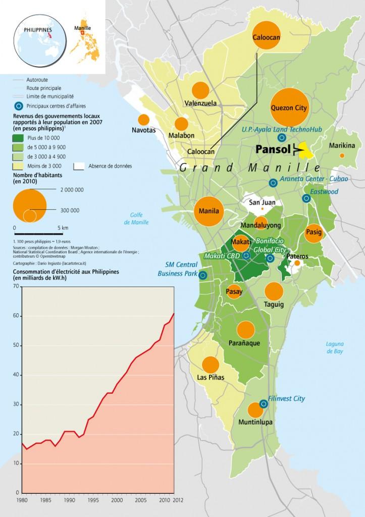 1. Carte de localisation des principaux centres d'affaire dans la région métropolitaine de Manille (cartographie : Dario Ingiusto, lacartotecca.it)