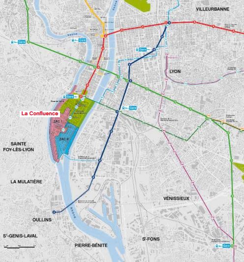 4. Localisation de la Confluence au sein de la Métropole de Lyon (Lyon Confluence Images et plans - 68 repères, SPLA Lyon Confluence, Grand Lyon 2013)