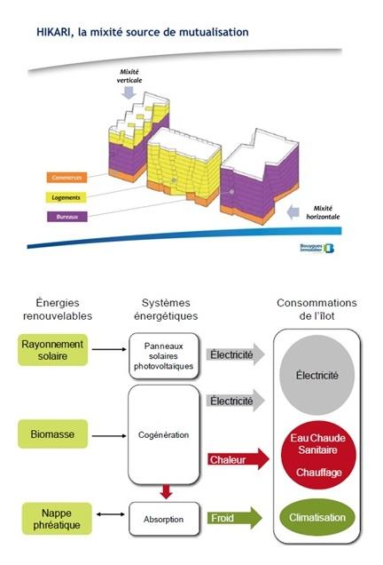 5. Représentation du principe du fonctionnement énergétique de l'îlot par Bouygues Immobilier (Supports de présentation publique de l'îlot Hikari, 2013)