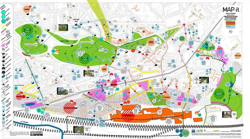 1. MAP-it de synthèse des propositions citoyennes pour le versant solidaire pilote de Forest (Arkipel, 2014)1.