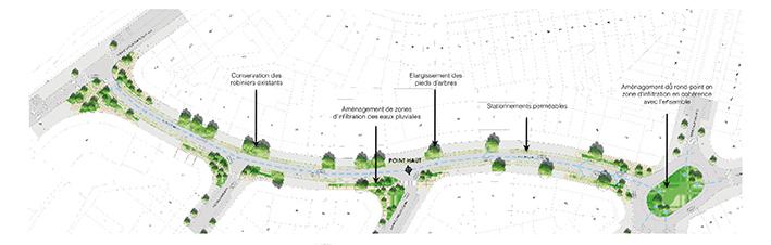 3. Coulée verte et bleue, situation projetée pour l'avenue Neptune, dans les hauts de Forest (Quartier durable Neptune & Landscapedesign, 2015)