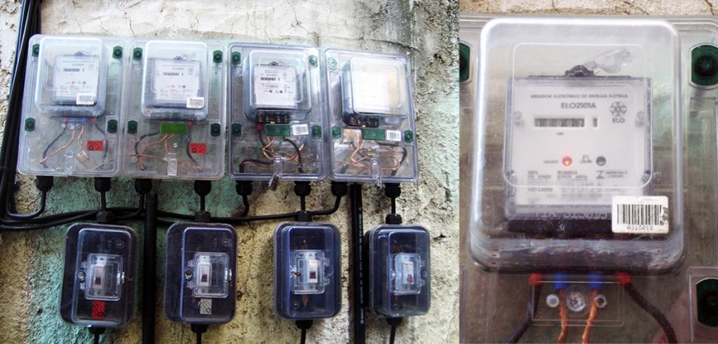 2. Les nouveaux compteurs et disjoncteurs installés dans les façades des logements à Cantagalo (Pilo', 2011)