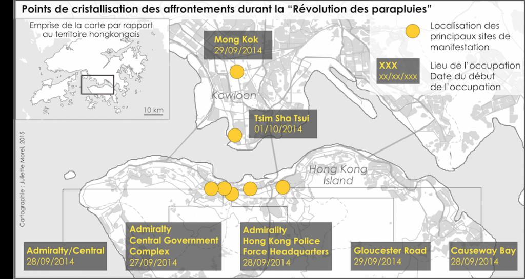5 . Géo-chronologie des affrontements sur le territoire hongkongais (Morel et Rouiaï 2015)
