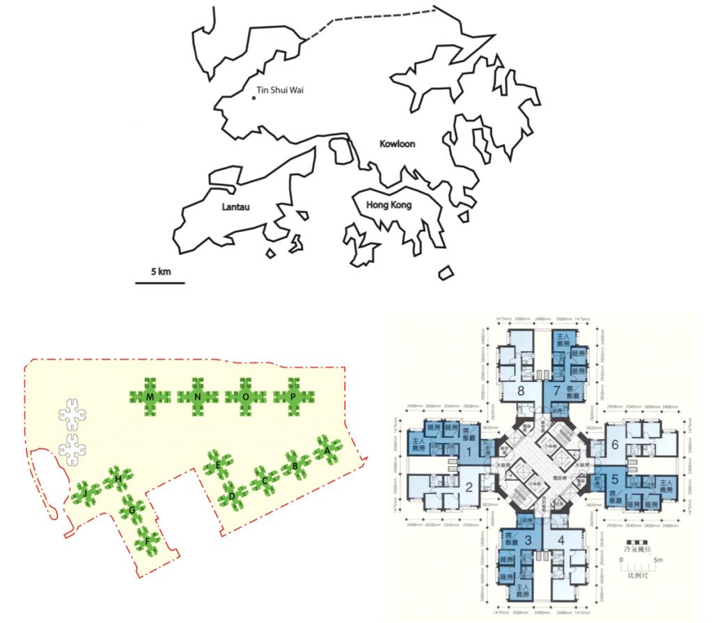 4. Localisation de Tin Shui Wai (Douay, 2015), plan d'implantation des tours du quartier de Tin Chung Court et distribution des logements d'une tour (À partir de données de la Hong Kong Housing Authority)