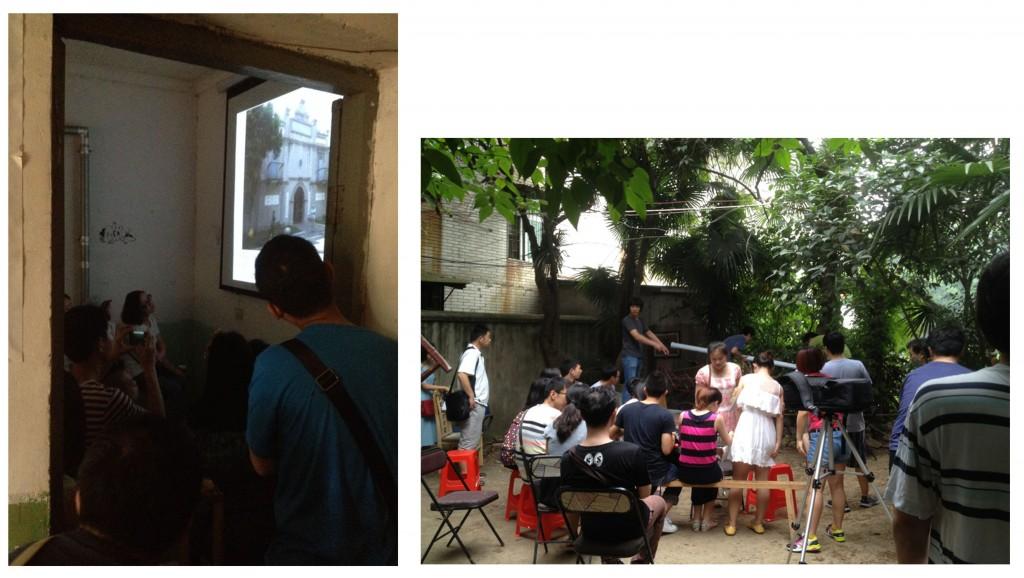 1. Lors de la conférence du 22 juin 2014 à « Notre maison », l'affluence était telle qu'il a fallut se déplacer dans le jardin et y installer le matériel nécessaire (Amar, 2014).