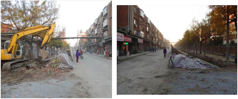 4. Chantiers de maintenance de réseaux de gaz et de chaleur sur la voirie d'un quartier central de Tianjin (R. Curien, novembre 2013)