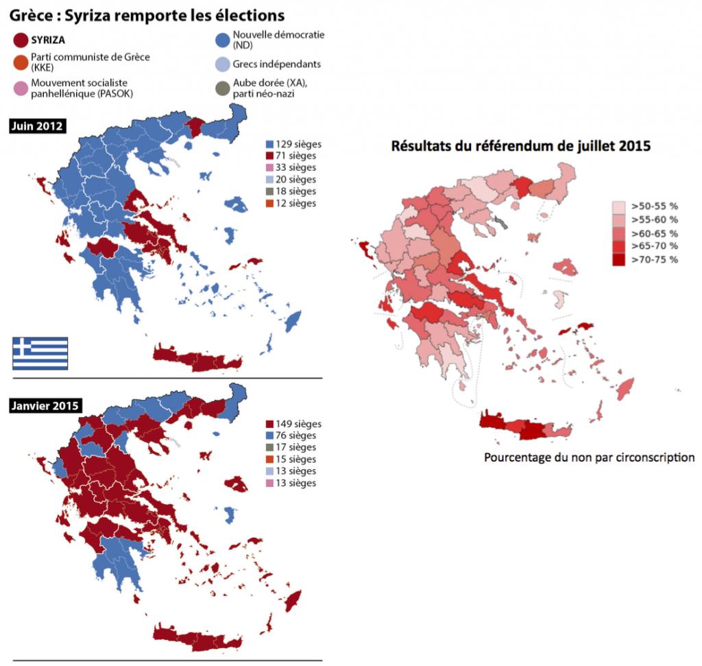 2. Comparaison des résultats des législatives de 2012, 2015 et du référendum de juillet 2015 (Sources : 20 minutes, janvier 2015 ; The Guardian, juillet 2015)