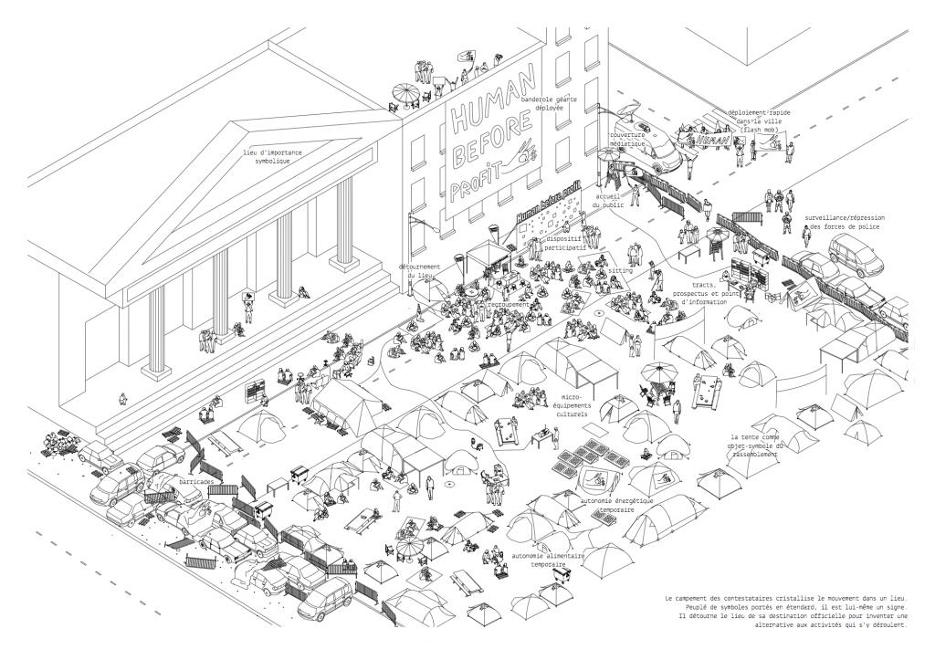 3. Le campement-signe : cristalliser la contestation dans un lieu (Catalogue de l'exposition, 2016)