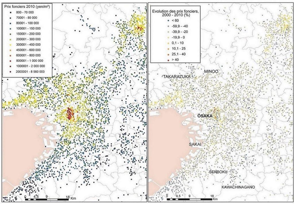 4. L'évolution des prix du sol de 2000 à 2010 dans la région d'Ōsaka, à partir des données par points du Ministère du Territoire (MLIT) (Buhnik, 2015).