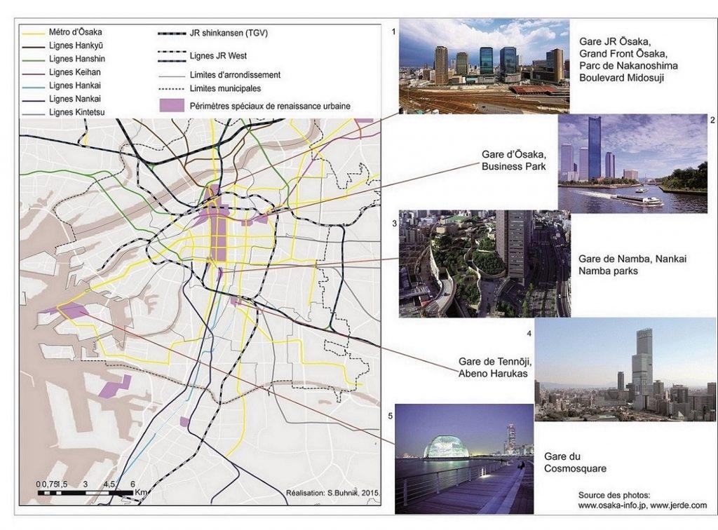 5. Les périmètres spéciaux de rénovation urbaine dans la ville d'Ōsaka et les réalisations architecturales qui y ont émergé depuis 2002 (Buhnik, 2015).